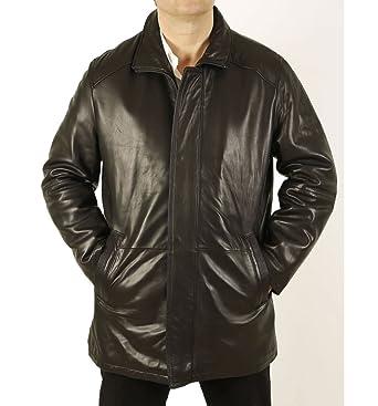 mens premium quality 34 length black leather coat size l