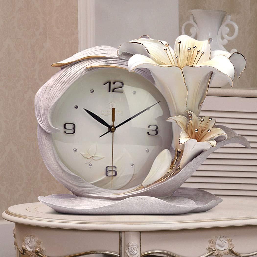 HONGNA Creative Resin Table Clock Living Room Stereo Clock Decoration Modern Fashion Desktop Art Decoration Bedroom Clock Simple Clock, Perfume Lily Small Fresh Table Clock Quality Assurance 3629cm by HONGNA (Image #3)
