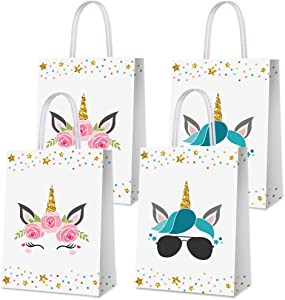 16 PCS Party Favor Bags for Unicorn Birthday Party Supplies, Party Gift Goody Treat Candy Bags for Unicorn Party Favors Decor Birthday Party Decor for Unicorn Party Girls Kids Birthday Decorations