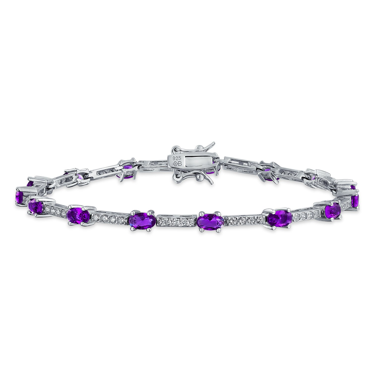 Vintage Style Simulated Amethyst CZ Tennis Bracelet Silver