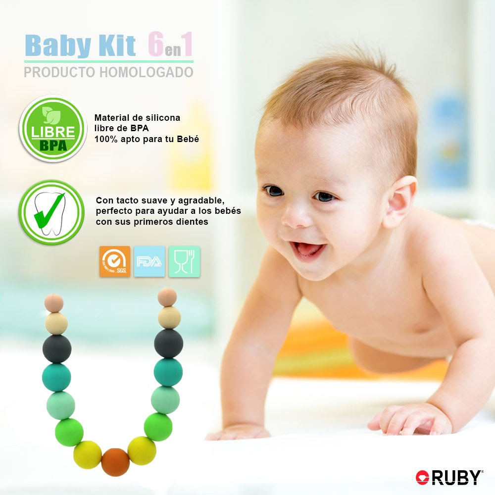RUBY Modelo 7 Collar Lactante Mordedor Silicona para Beb/é