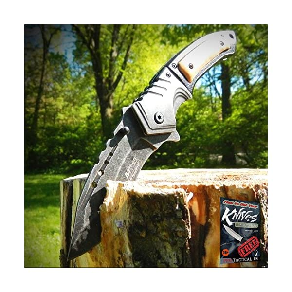 "9"" SPRING ASSISTED OPEN Tactical Blade Folding POCKET Elite Knife Wood Steampunk + free eBook by ProTactical'US 3"