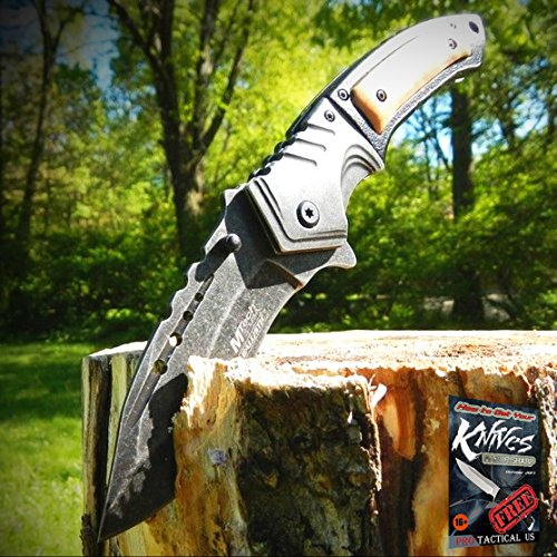 9″ SPRING ASSISTED OPEN Tactical Blade Folding POCKET Elite Knife Wood Steampunk + free eBook by ProTactical'US