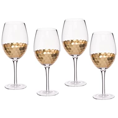 Wine Glasses 4 Pack Glassware Set, Gold Plated Premium Drinkware Toasting Glasses, Holiday Party Gifts