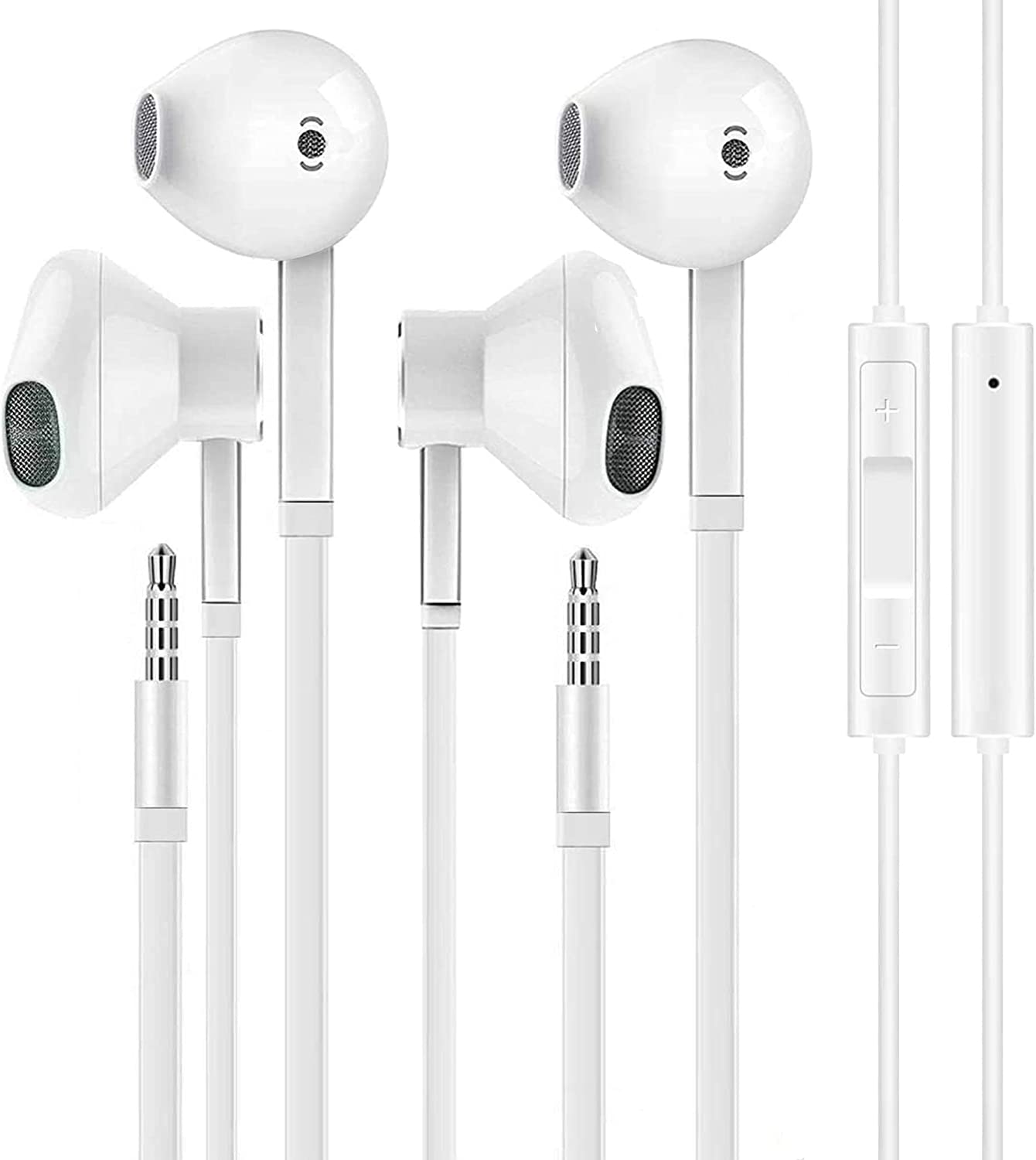 2 Pack Fonemax Aux Earbuds Earphones 3.5mm Wired Headphones Noise Isolating Earphones Volume Control & Built-in Microphone Compatible with iPhone 6s plus 5s 5 iPad S10 Android All 3.5 mm Audio Devices