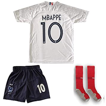 the best attitude 89df5 c9c90 France Mbappe Jersey #10 Away 18/19 - Football Kits Soccer Shirt For Kids  Boys Children Youth