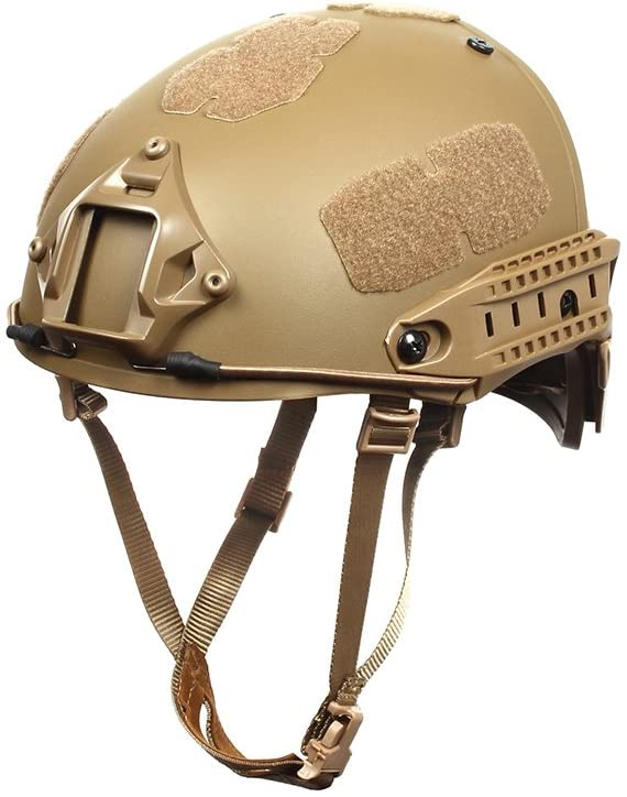 Image of the Outry Tactical Fast Helmet, Adjustable ABS Helmet with Side Rails and NVG Mount, in brown color.