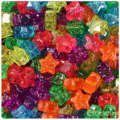 BeadTin Jelly Mix Sparkle 13mm Star Pony Beads -