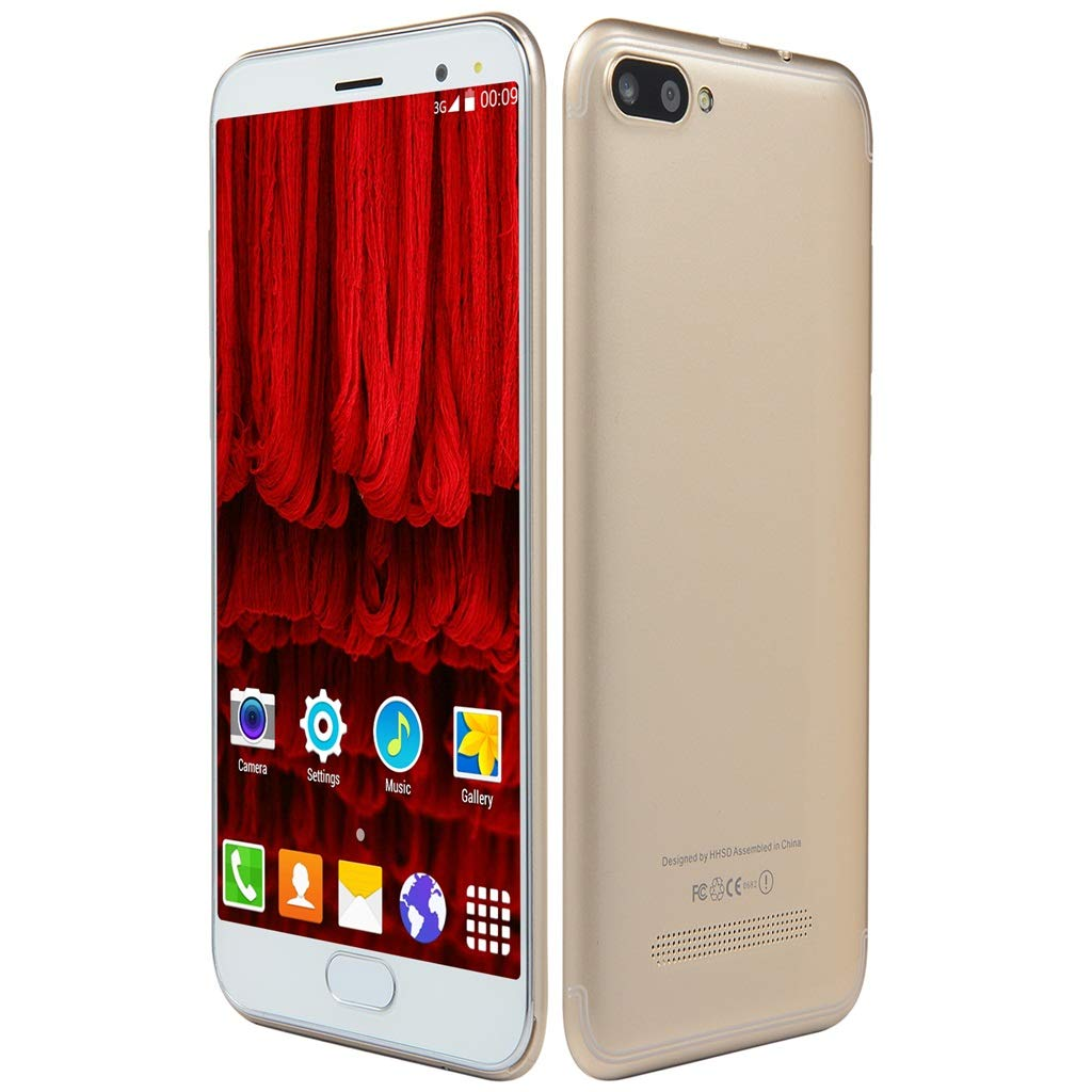 Unlocked 5.0 inch Dual HD Dual SIM Camera Smartphone Android 6.0 1G+4G Extended Memory 32G WiFi GPS Call Mobile Phone (Gold)