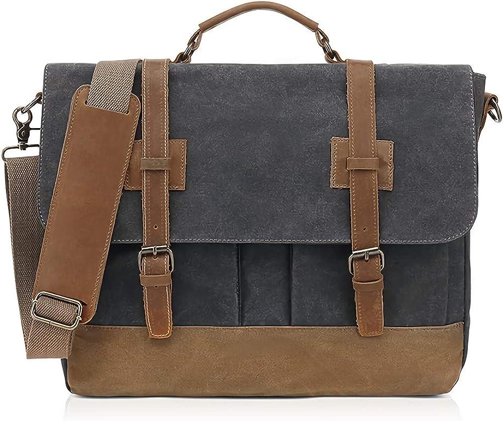 SUVOM Mens Messenger Bag 15.6 Inch Waxed Canvas Briefcase Retro Shoulder Bag