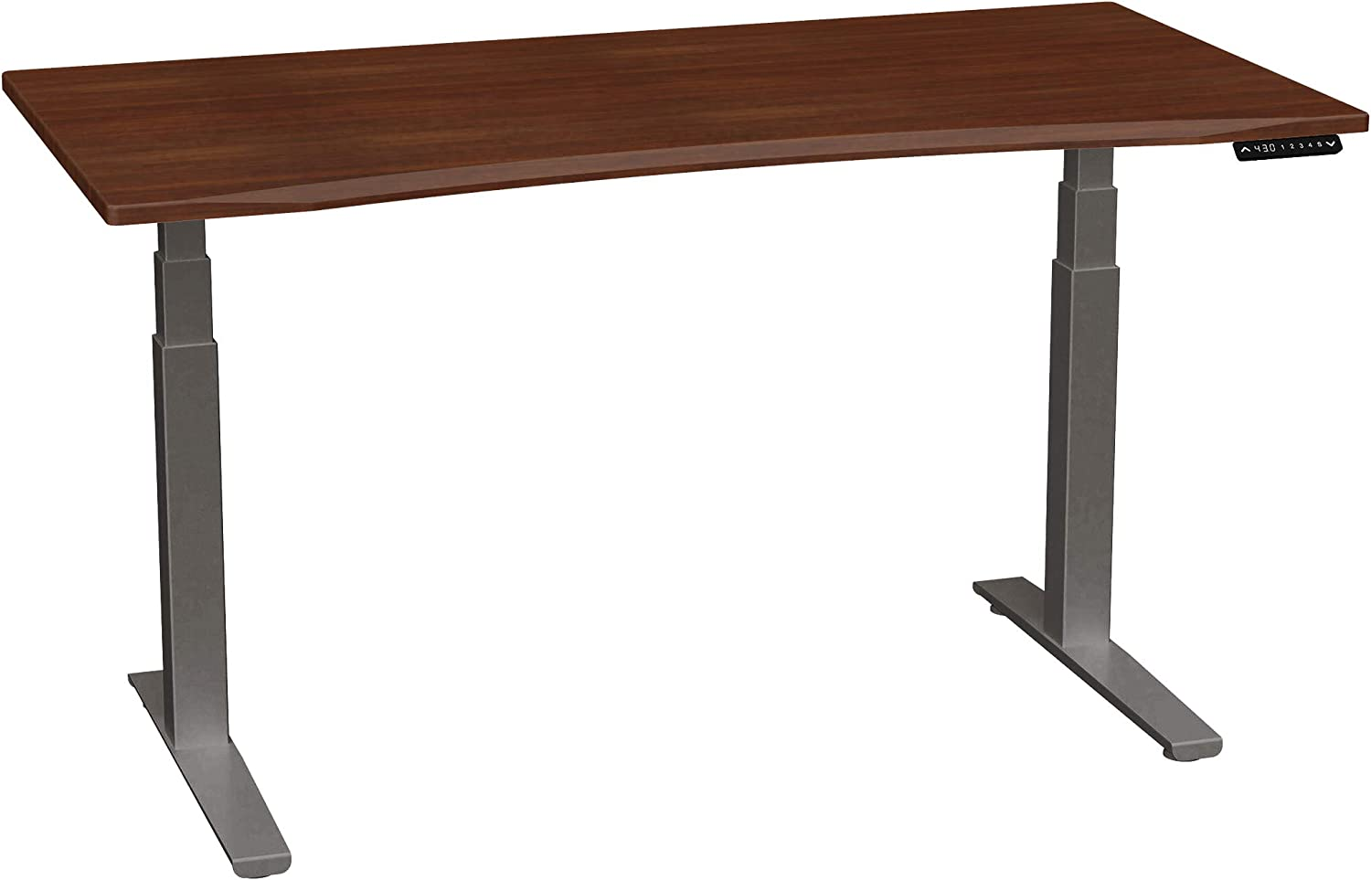 SmartMoves by Howard Miller Dual Motor Electric Adjustable Height Desk with Curved Desktop (Medium Cherry Desktop/Charcoal Base, 60 in Width)
