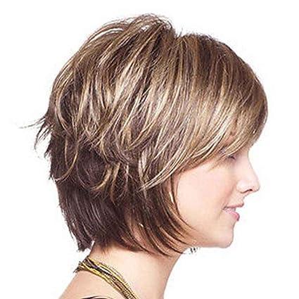 Babysbreath Mujeres Niza Corto Curls Curls Peluca Perlas de pelo de señora rubia sintética con estilo