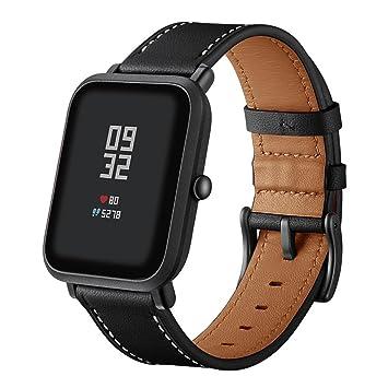 Zolimx Cuero Genuino Reloj Banda Pulsera Correas para Xiaomi Huami Amazfit Bip Juventud Watch (Negro): Amazon.es: Electrónica