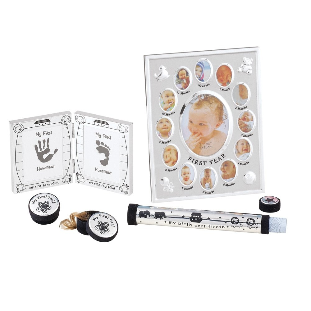 Baby Keepsake 5 Piece Silver tone Gift Set for First Year Frame, First Tooth, Lock of Hair, Footprints, and Birth Certificate Collections Etc