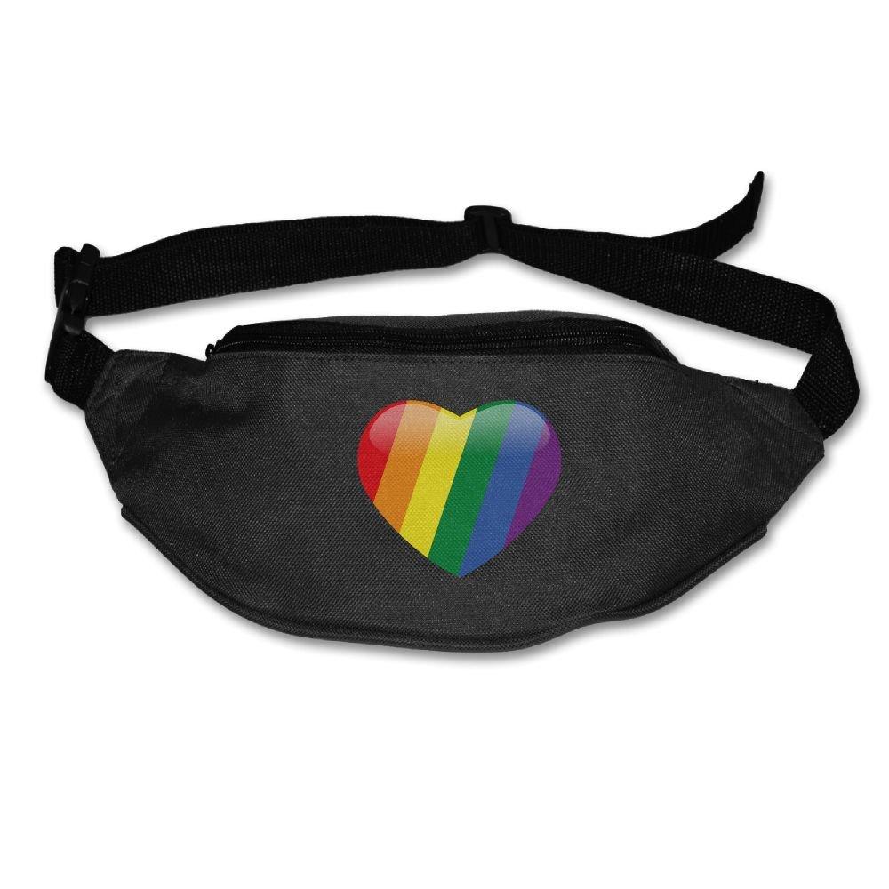 Janeither Unisex Waist Purse Rainbow Heart Love Fanny Pocket Adjustable Running Sport Waist Bags Black