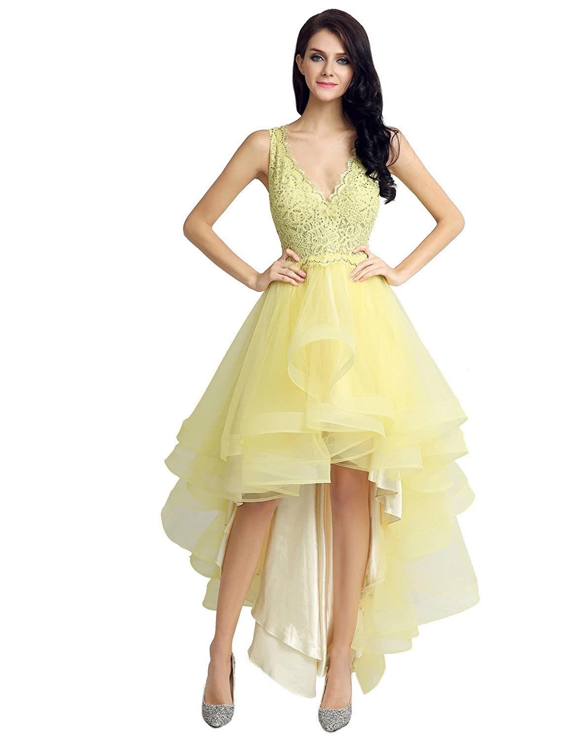 Yellow230 Belle House High Low Cocktail Party Ball Gown 2019 Prom Dresses for Women with Beads