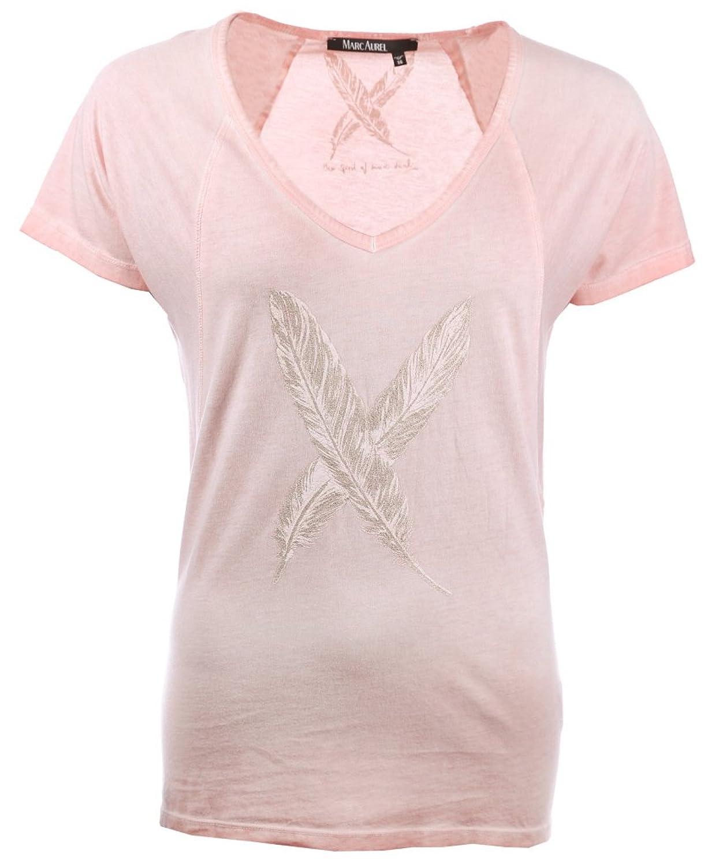 MARC AUREL Kurzarm T-Shirt V-Ausschnitt Statement-Print rosa