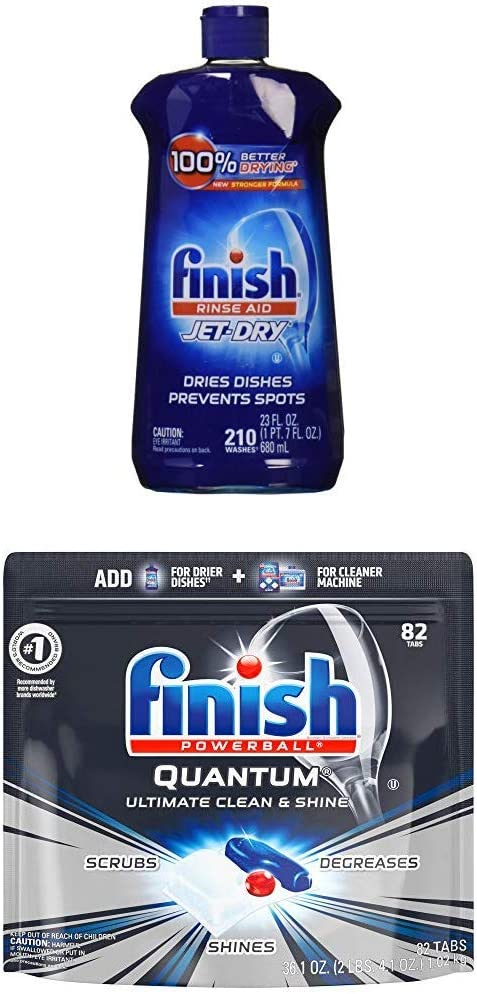 Finish - Jet-Dry Rinse Aid, 23oz, Dishwasher Rinse Agent & Drying Agent and Quantum, 82ct, Dishwasher Detergent, Powerball, Ultimate Clean & Shine, Dishwashing Tablets, Dish Tabs