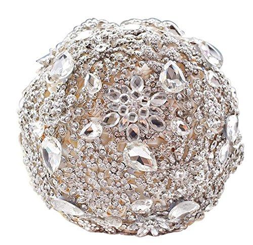 Pavian charm shiny luxury covered diamond wedding bouquet brooches flower pearl custom bride holding bouquets ivory - Floral Bouquet Brooch