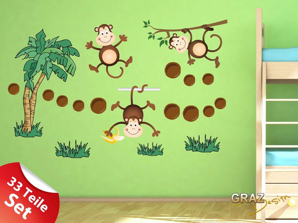 Amazon.de: Graz Design 771000_150x57 Wandsticker Set Kinderzimmer  Kletternde Affen Mit Palme Und