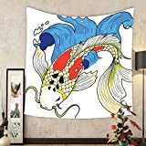 Gzhihine Custom tapestry Ocean Animal Decor Tapestry Mystical Asian Koi Common Carp Fish in Waves Chinese Sea Creature Zen Image for Bedroom Living Room Dorm 60WX40L Multi