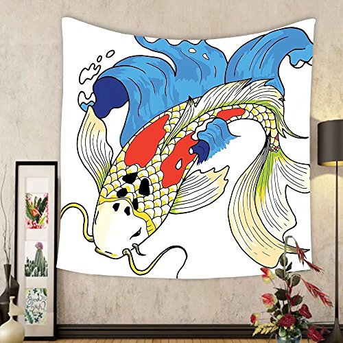 Gzhihine Custom tapestry Ocean Animal Decor Tapestry Mystical Asian Koi Common Carp Fish in Waves Chinese Sea Creature Zen Image for Bedroom Living Room Dorm 60WX40L Multi by Gzhihine