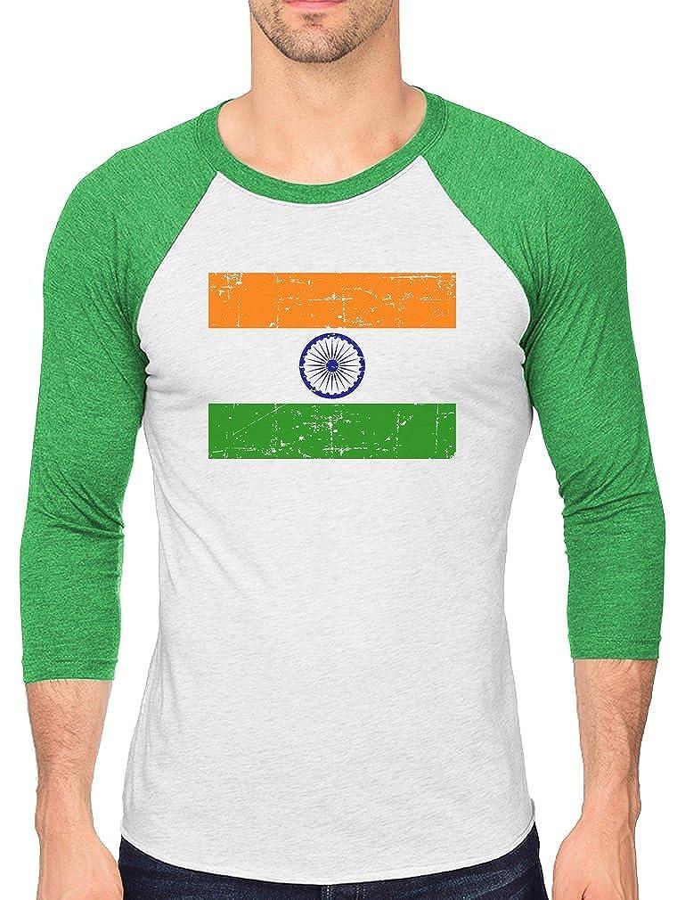 sports shoes e3a39 91fda Amazon.com: Vintage Indian Flag Retro Style India 3/4 Sleeve ...