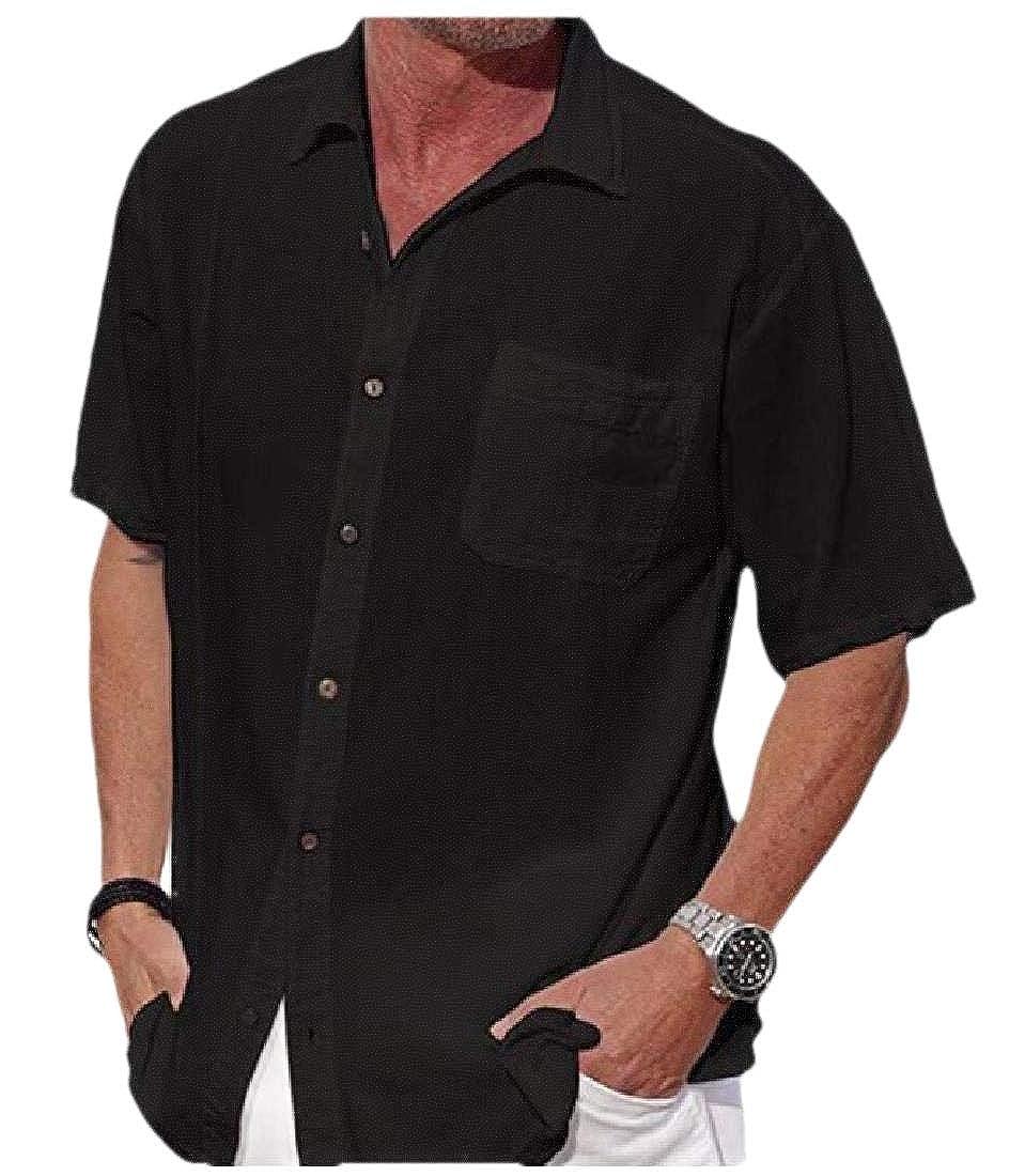 Cromoncent Men Short Sleeve Plain Button Down Dress Shirts with Pocket