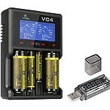 XTAR VC4 Li-ion/Ni-MH Ladegerät Batterie Premium USB LCD Anzeige Ladegerät Inkompatibel mit Li-ion Akku und NI-mh Akku Auftragen auf 10440,14500,14650,16340,17670,18350,18490,18500,18650,18700,