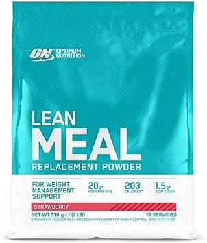 Optimum Nutrition Lean Meal Replacement, Polvo Multivitaminas Rico en Proteínas con Minerales, Fresa, 18 Porciones, 918 g, Embalaje Puede Variar