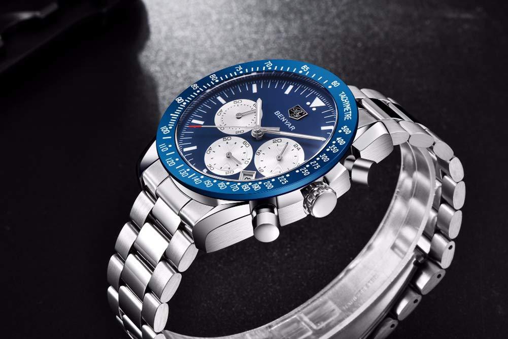 Gskj kvartsklocka för män, mode rostfritt stål kronograf med kalender lysande små tre nålar metallrem rörelsetur Svart