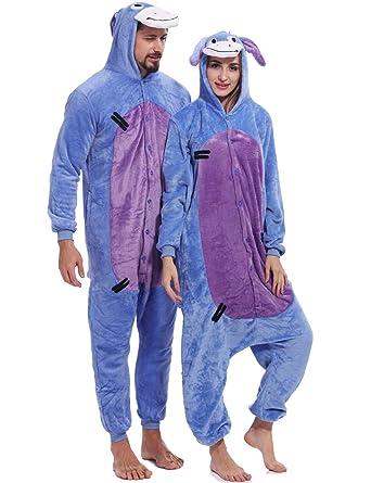 555d3511e761 Amazon.com  Adult Eeyore Donkey Onesies Pajamas Cosplay Animal Homewear  Sleepwear Jumpsuit Costume Women Men  Clothing