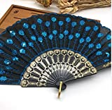 Black Blue Home Decoration Crafts Vintage Retro Peacock Folding Fan Hand Plastic Lace Dance Fans