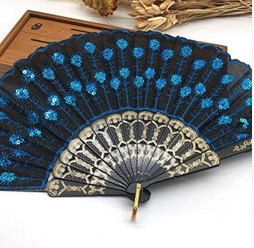 Black Blue Home Decoration Crafts Vintage Retro Peacock Folding Fan Hand Plastic Lace Dance Fans