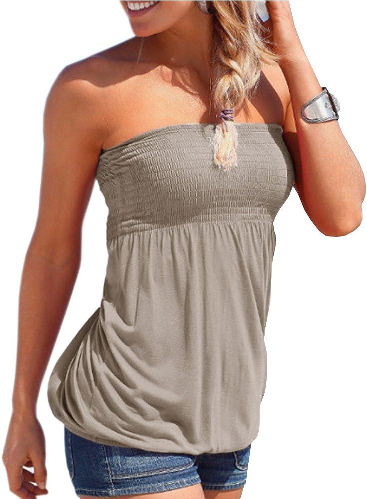 Sematomala Women's Frill Smocked Crop Tank Top Sexy Strapless Sleeveless Bandeau Tube Top Summer Vest