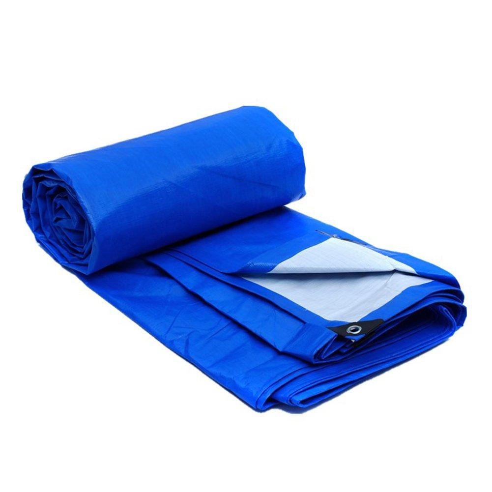 CAOYU Plane, regendichte Sonnenschutzplane, Sonnenschutzmittel Sonnencreme staubdicht Wärmealterung, Blau + Weiß