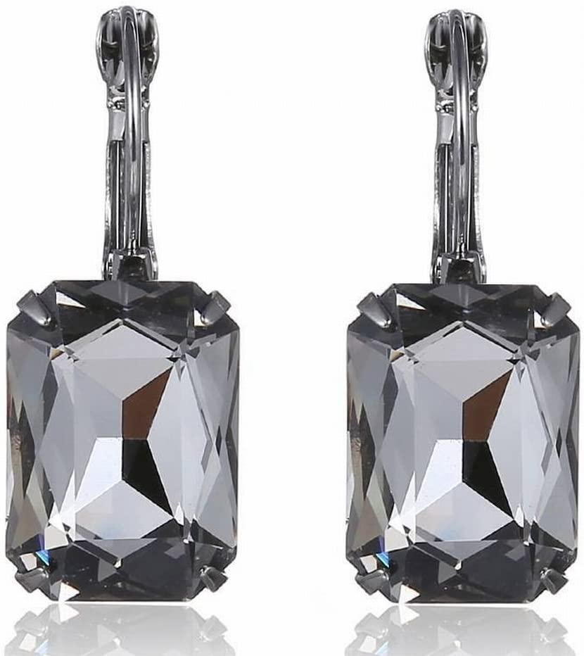 Katylen Pendientes de Piedras Preciosas de Cristal de Navidad Multicolor, Gris