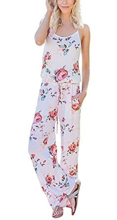 a6a6be01a49 BLUETIME Women s Floral Printed Jumpsuit Halter Sleeveless Wide Leg Jumpsuit  Rompers (XL