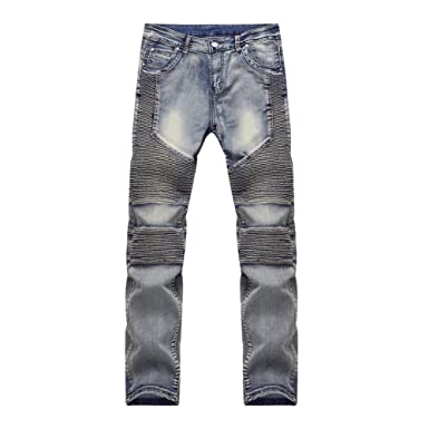 Fashion Crosshatch Torn Slim Fit Ripped 5 Pocket Jeans Mens Stone Wash Online Shopping