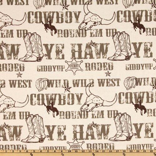 Cowboy Print Fabric - Premier Prints Cowboy Kelp/Natural