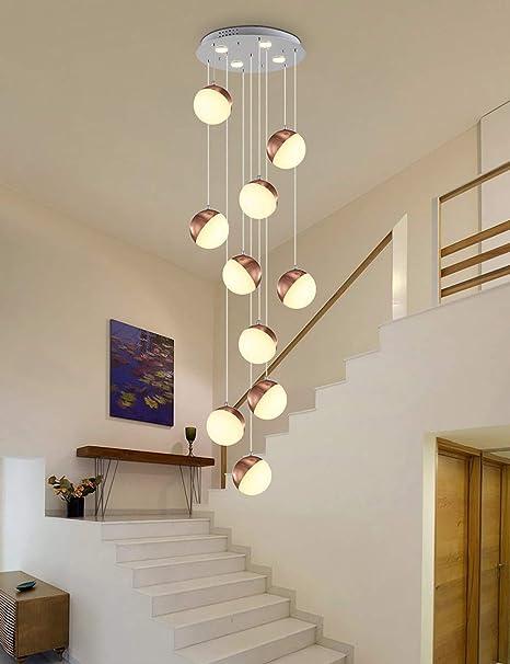 Luces múltiples araña larga para la sala de estar Escalera giratoria Colgante de la luz Bolas