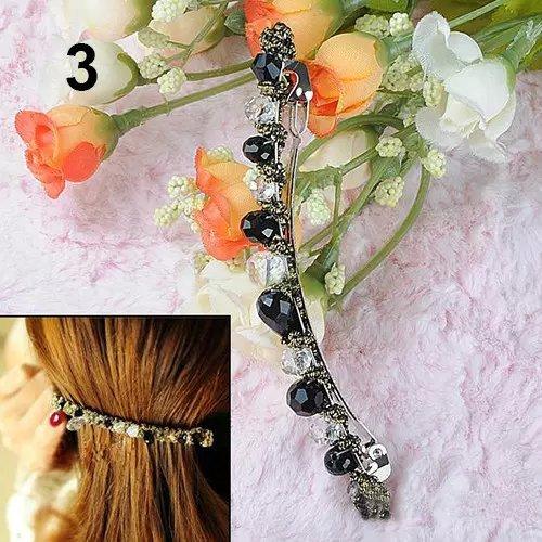 Price comparison product image 3PCS Womens Korean Fashion Crystal Rhinestone Barrette Hairpin Hair Clip Accessories (Black)