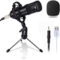 Computer Microphone, Gaming Mic with Stand, USB PC Microphone for Video Recording Studio Streaming External Microphone…