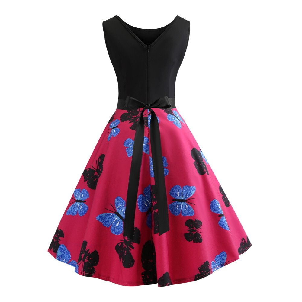 Big Sales! 50S 60S Dresses for Women Vintage Summer Sleeveless Casual Butterfly Print Party Pleated Dress+Sashes Hot Pink