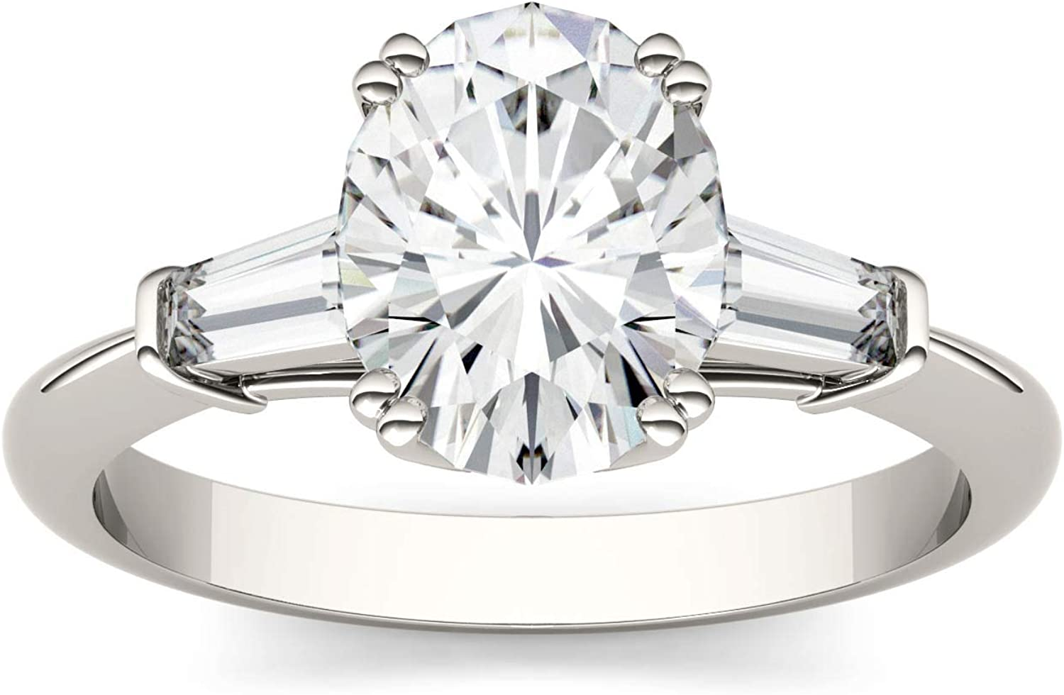 14K White Gold Moissanite by Charles & Colvard 9x7mm Oval Engagement Ring, 2.47cttw DEW