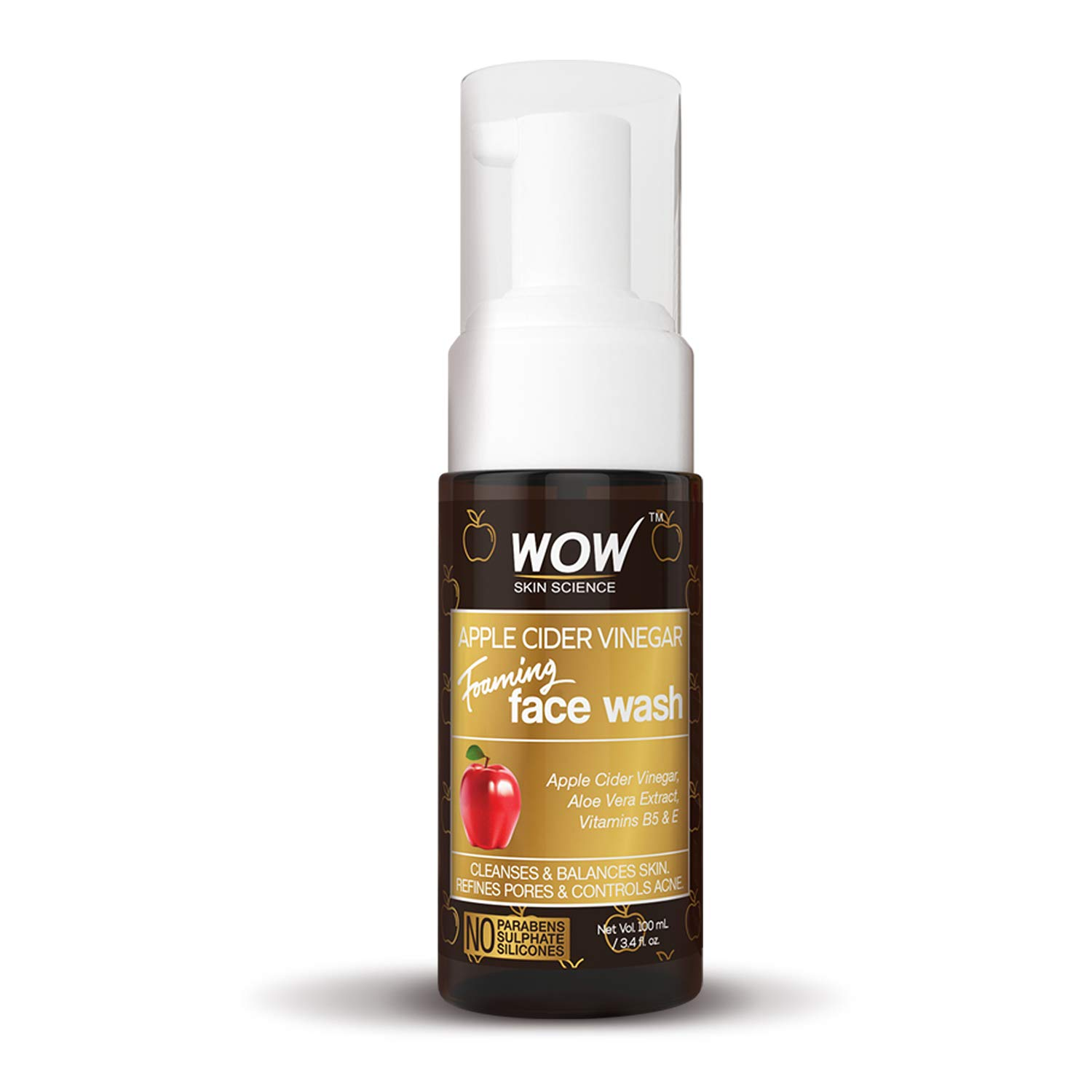 WOW Apple Cider Vinegar Foaming Face Wash Cleanser - Normal, Dry & Oily Skin - Heal, Hydrate For Soft, Clear Skin - Remove Dirt, Oil & Makeup, Reduce Acne Breakouts - Men & Women - All Ages - 100 mL by BUYWOW (Image #4)