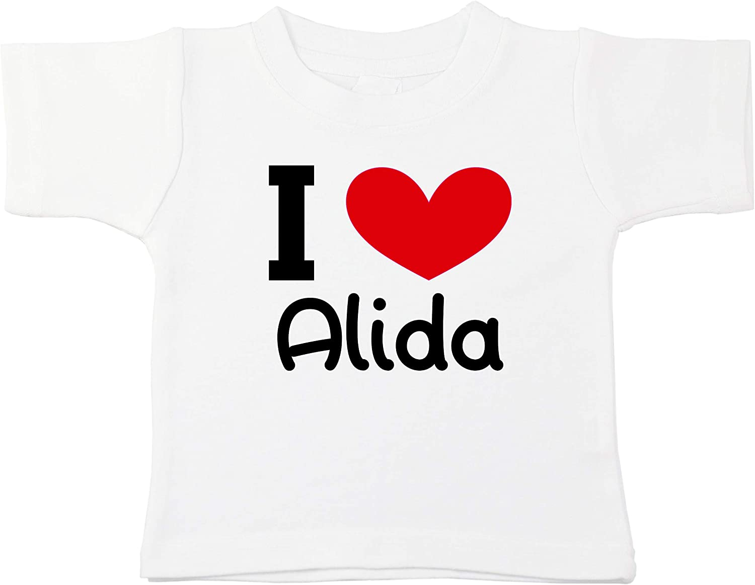 Kinacle I Love Alida Personalized Baby//Toddler T-Shirt