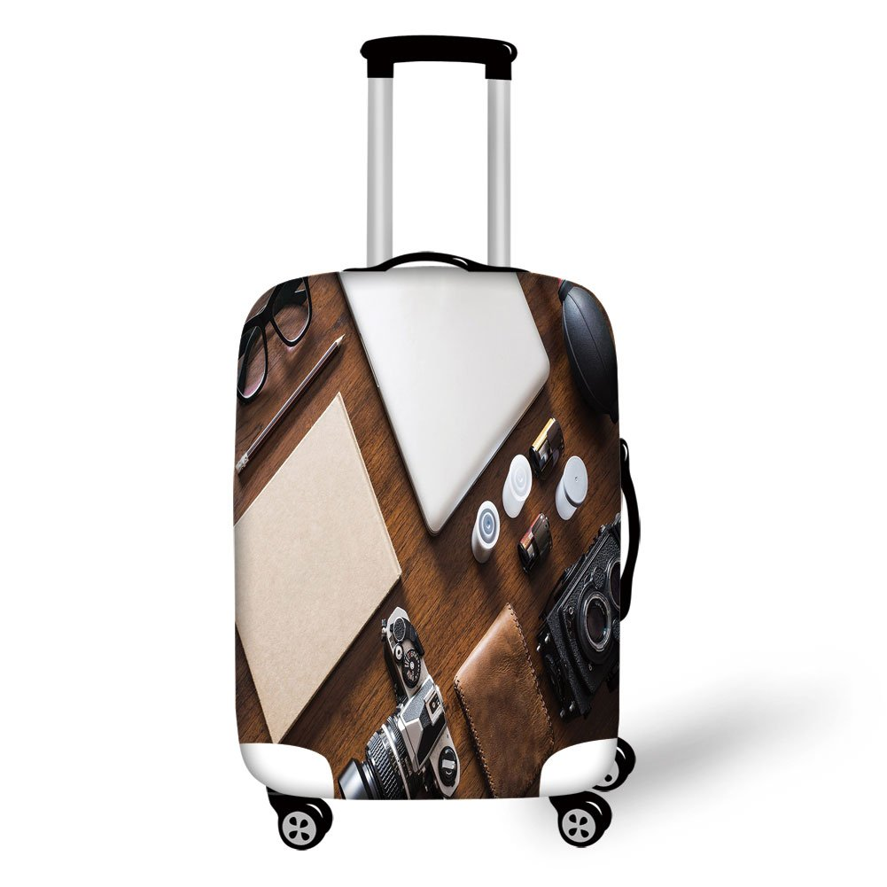 Travel Luggage Cover Suitcase Protector,Indie,Professional Set Up for Photographers Designers Work Place Equipment on Table,Brown Beige Black,for Travel by iPrint (Image #1)