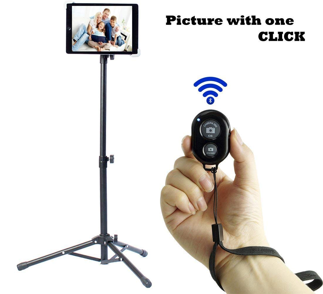 Ipad Tripod Stand, Weiyudang Height Adjustable 20 to 60 Inch Tablet Tripod Mount For Ipad Pro 12.9''/11'', Ipad Air 10.5'', Ipad 9.7'' and More 9.5'' to 14.5'' Tablets with Bluetooth Remote Control As Gift by WEIYUDANG