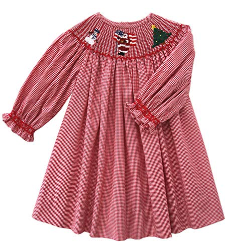 (Carouselwear Girls Christmas Smocked Santa Claus Red Bishop Dress with Long Sleeves)
